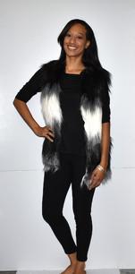 M08 Black/White Faux Fur Vest
