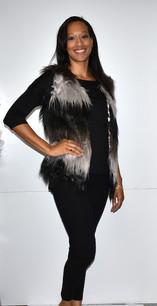 M08 Black/Grey Faux Fur Vest