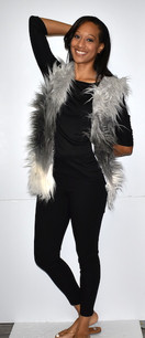 M08 Grey/White Faux Fur Vest