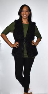 4007 Black Fur Like Vest w/ Waist Tie