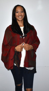 P168-3 Red Wrap w/ Fur Like Collar/Button