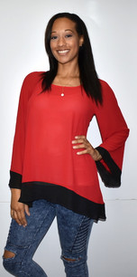 1432 Black/Red Inspired Contrast Trim Gameday Top