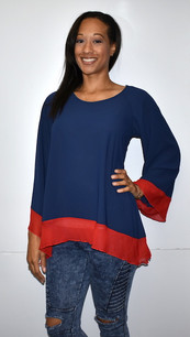 1432 Blue/Red Inspired Contrast Trim Gameday Top