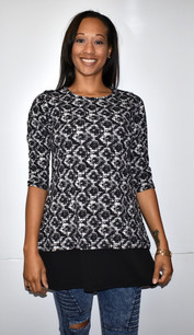 1666 Black/White Print Dress