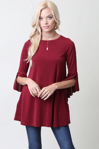Crimson Ruffled Sleeve Tunic Top w/ Pockets
