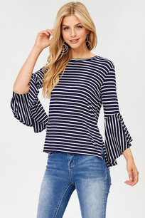 Navy/White Angle Sleeved Top