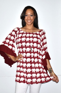 1539 Elephant Gameday Top w/ Ruffled Sleeves
