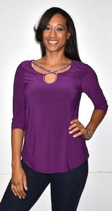 1628 Purple Crystal Trimmed Top