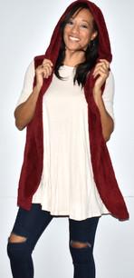 90043 Burgundy Fuzzy Hoodie Vest w/ Pockets