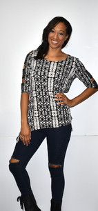 1365 Black/White Ladder Sleeved Top w/ Sparkles