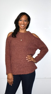 608-435033 Rust Cold Shoulder Sweater Top