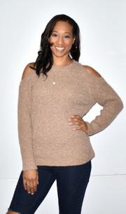 608-435033 Taupe Cold Shoulder Sweater Top