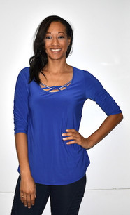 1628I Blue Crystal Trimmed Top