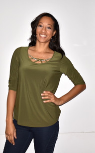 1628I Olive Crystal Trimmed Top