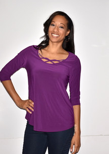 1628I Purple Crystal Trimmed Top