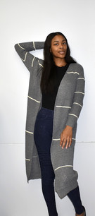 6028 Grey Sweater Jacket w/ Pockets