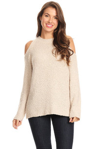 608-435033 Beige Ribbed Knit Open Sweater Top