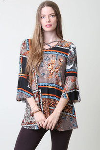 3630 Brown/Black Multicolored Criss Crossed Neck Top w/ Ruffled Sleeves