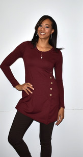 4057 Burgundy Side Button Top