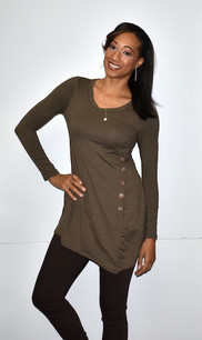 4057 Brown Side Button Top