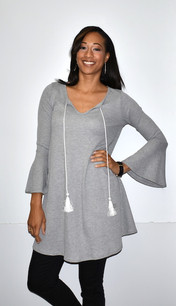 5005 Grey Waffle Weave Bell Sleeved Tunic