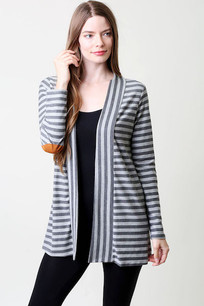1746 Grey Striped Cardigan w/ Patched Sleeve