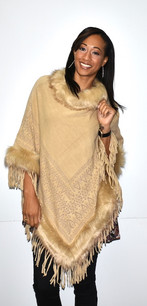 5146 Gold Fur Trimmed Poncho