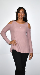 15237 Mauve Cold Shoulder Sweater Top