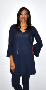 5005 Navy Waffle Weave Bell Sleeved Tunic