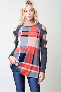 Red/Blue/Grey Cut Sleeved Plaid Top