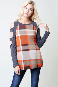 Orange/Grey Plaid Cut Sleeved Plaid Top