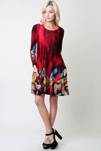 Red/Blue/Yellow Feathered Pocket Dress