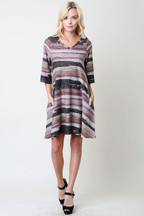 Grey/Charcoal/Purple Horizontal Striped Haci Pocket Dress