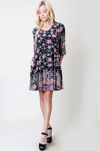 Blue/Pink Floral Print Pocket Dress