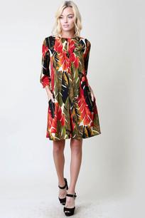 Red/Green/Black Forest Print Pocket Dress