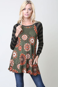 Green/Orange Circles Striped Sleeve Print Top