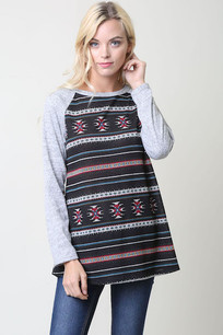 Black/Grey Tribal Printaci Top