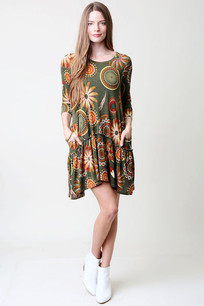Green/Light Orange Circle Pocket Dress