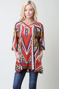 Red Mulitcolored Tribal Print Top