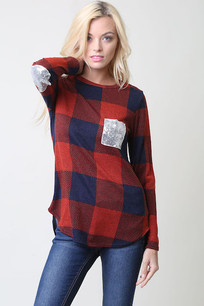 Red/Blue Plaid Contrast Sequin Pocket Top