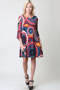 Red/Blue/White Multicolored Circle Pocket Dress w/ Ruffled Sleeves