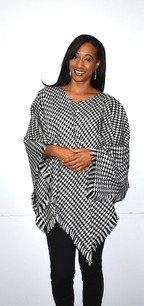 Black/White Houndstooth Poncho