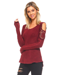 60007 Burgundy Cold Shoulder Mineral Washed Top