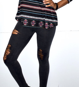 827JN222 Charcoal Distressed Moto Leggings