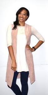 10555 Rose Cord Faux Fur Lined Long Vest