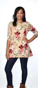 2221 Light Floral Print DTY Fabric Tunic Top