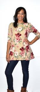 2221 Light Floral Print DTY Fabric Tunic Top