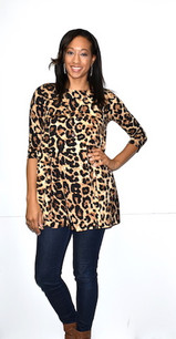2221 Leopard Print DTY Fabric Tunic Top