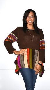 49459 Multicolored Sweater Tunic Top