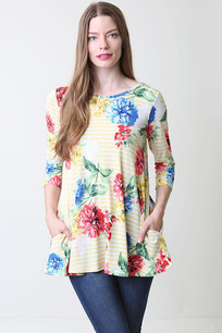 36711 Yellow Floral Top